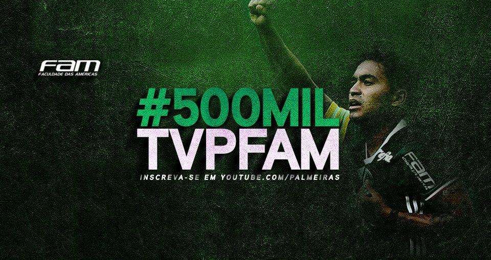 TV Palmeiras/FAM completa três anos com 500 mil inscritos e no Top 10 mundial